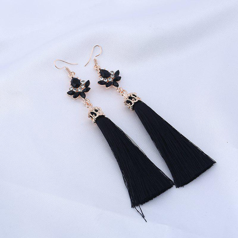 Rhinestone Long Teardrop Tassel Hook Earrings rhinestone ball hook long chain earrings