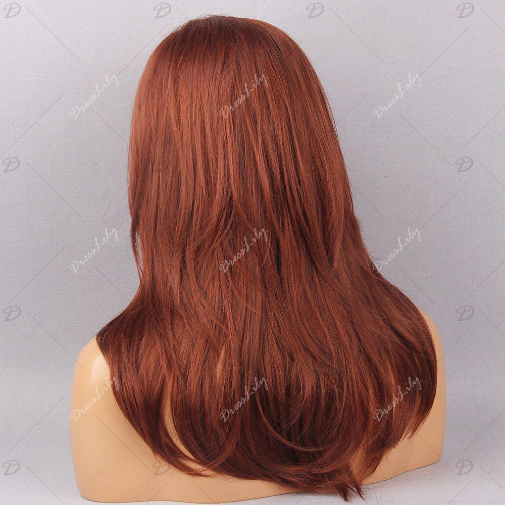 Long Oblique Bang Layered Natural Straight Synthetic Wig - Rouge Foncé