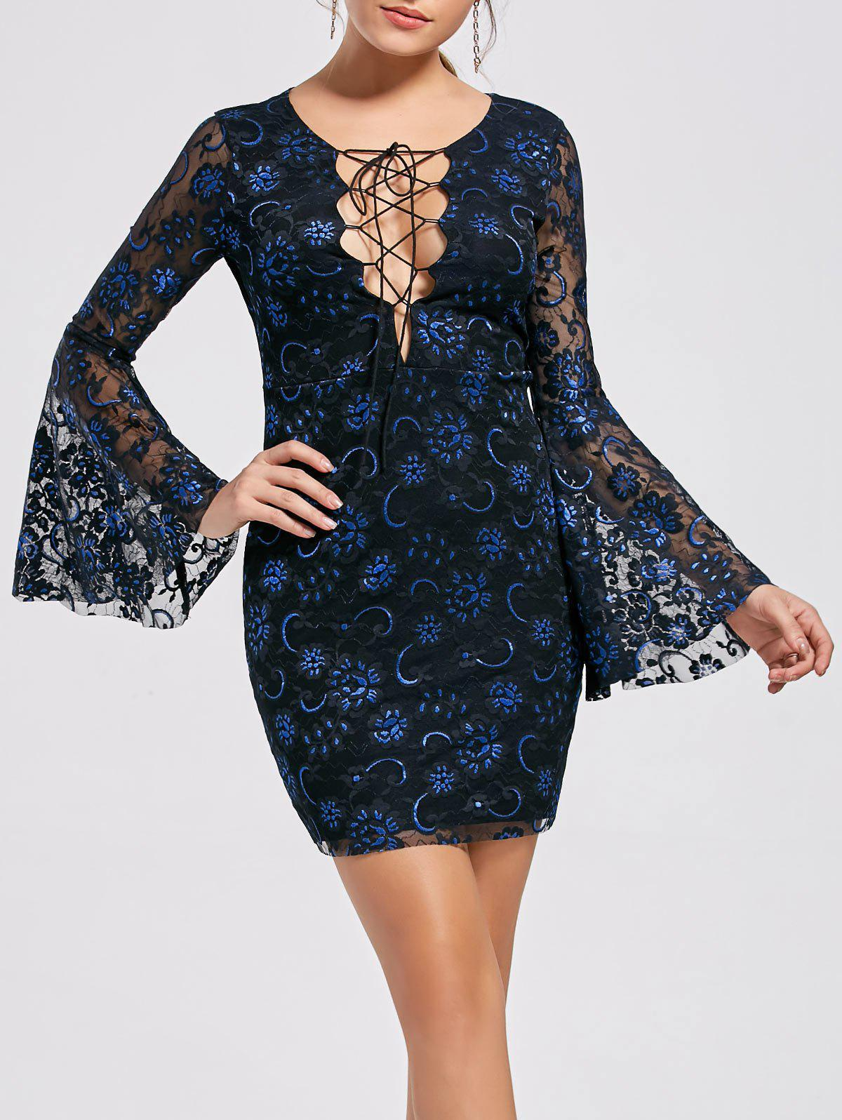 Flare Sleeve Lace Up Lace Dress - BLACK L