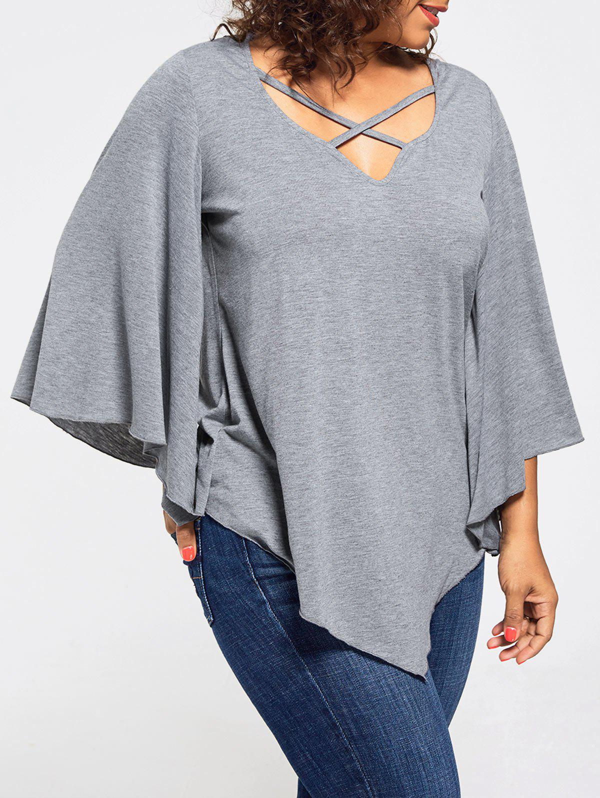 Lace Insert Plus Size Batwing Sleeve Blouse lace insert plus size blouse