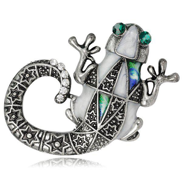 Engraved Faux Gemstone Mechanical Lizard Brooch - SILVER