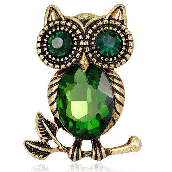 Retro Faux Crystal Inlaid Owl Design Brooch - GREEN