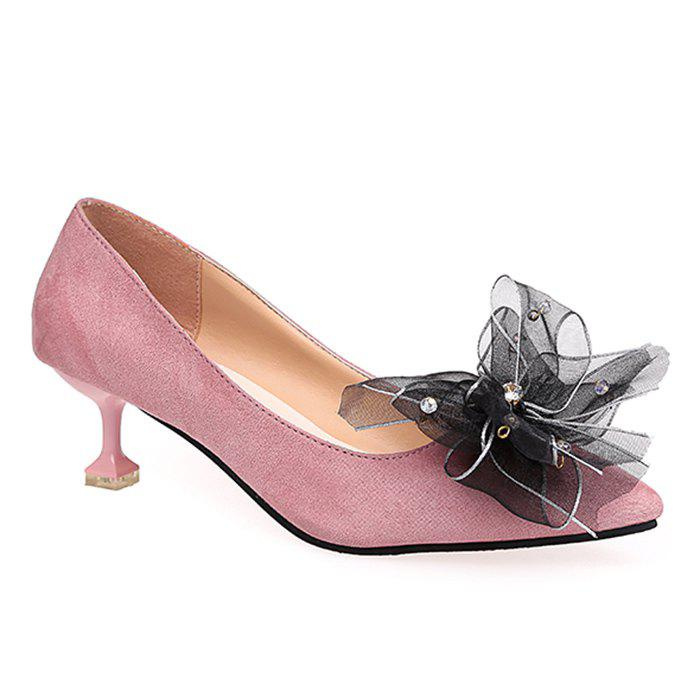 Point Toe Bow Accent Faux Suede Pumps - PINK 37
