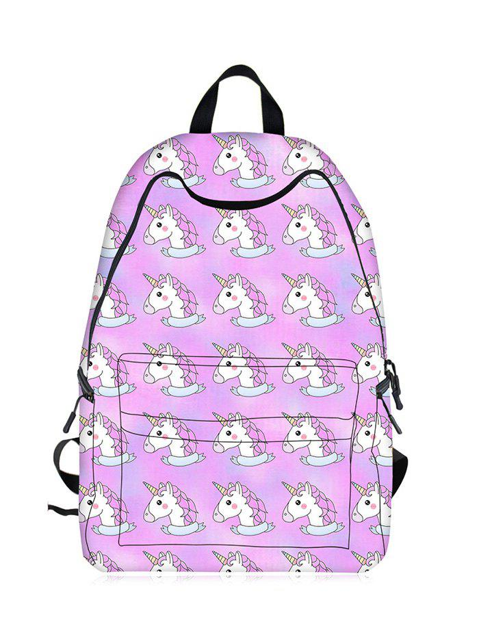 Cartoon Unicorn Printed Backpack - LIGHT PURPLE