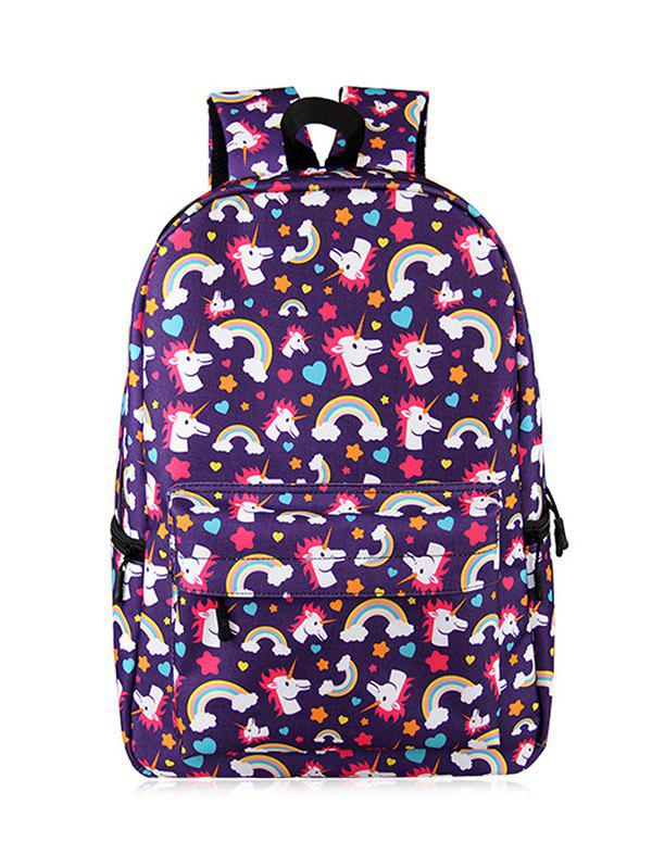 Sac à dos imprimé Cartoon Unicorn - Pourpre