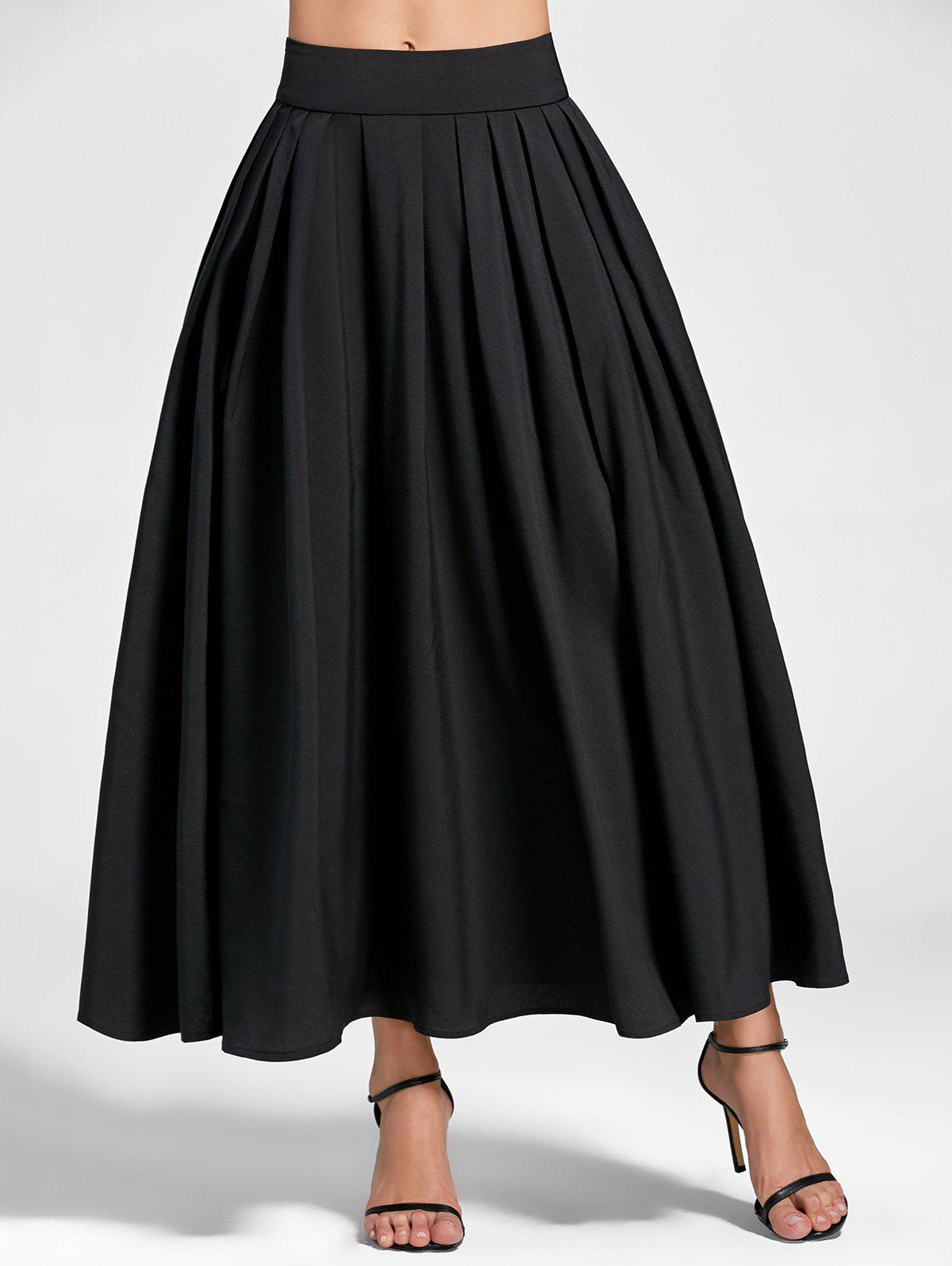 High Waist A Line Pleated Skirt - BLACK 2XL