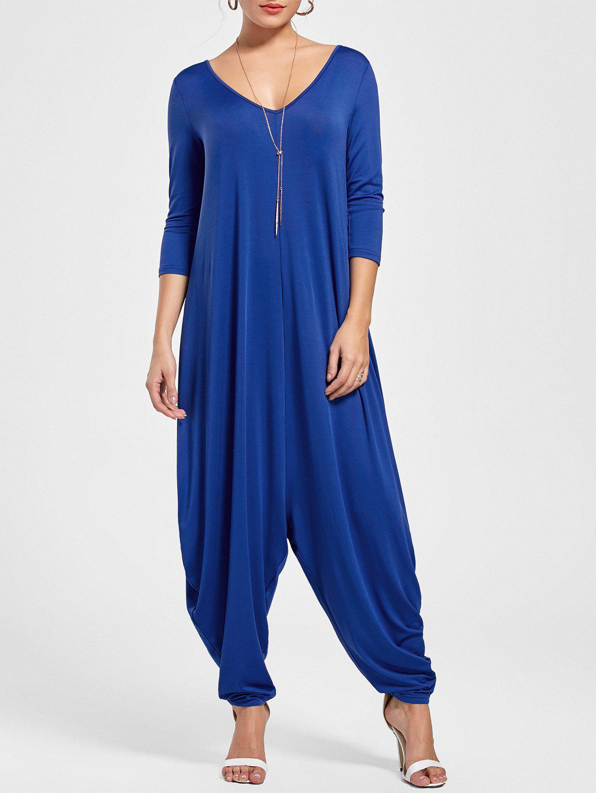 V Neck Draped Cut Out Baggy Jumpsuit - BLUE 2XL