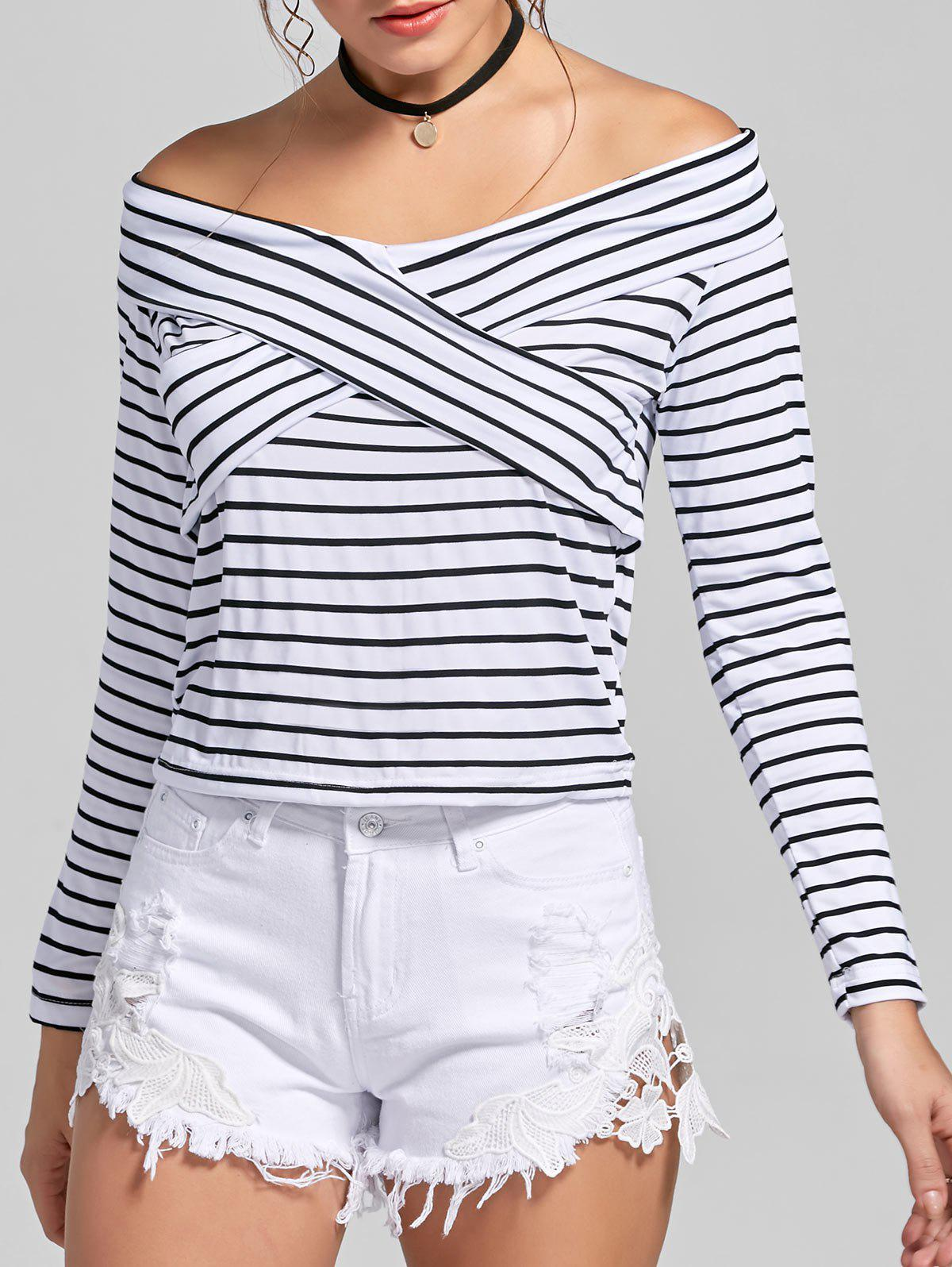 Off The Shoulder Criss Cross à rayures T-shirt - Rayure L