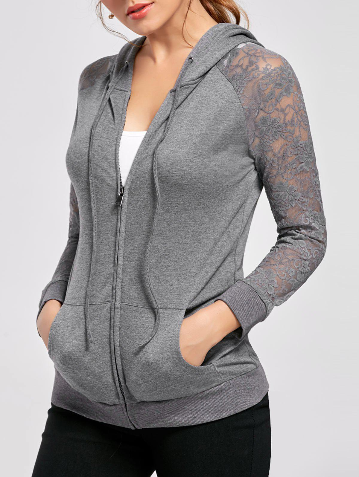 Lace Insert Drawstring Neck Hoodie - FROST 2XL