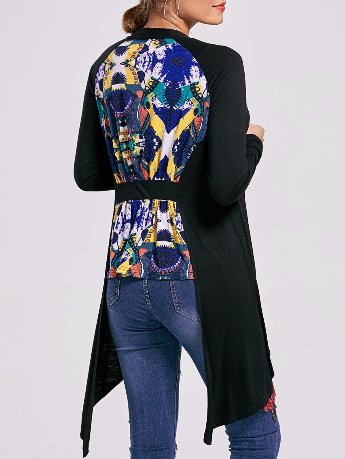 Open Front High Low Printed Cardigan - BLACK XL