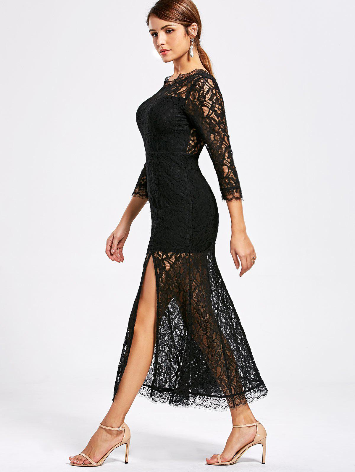 See Thru High Split Lace Party Dress - BLACK L