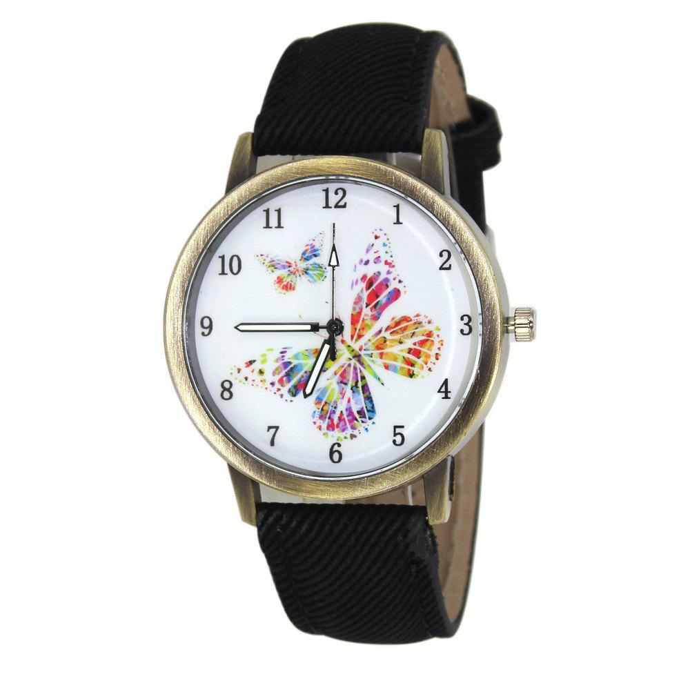 Butterfly Face Faux Leather Watch faux leather lunar eclipse face watch