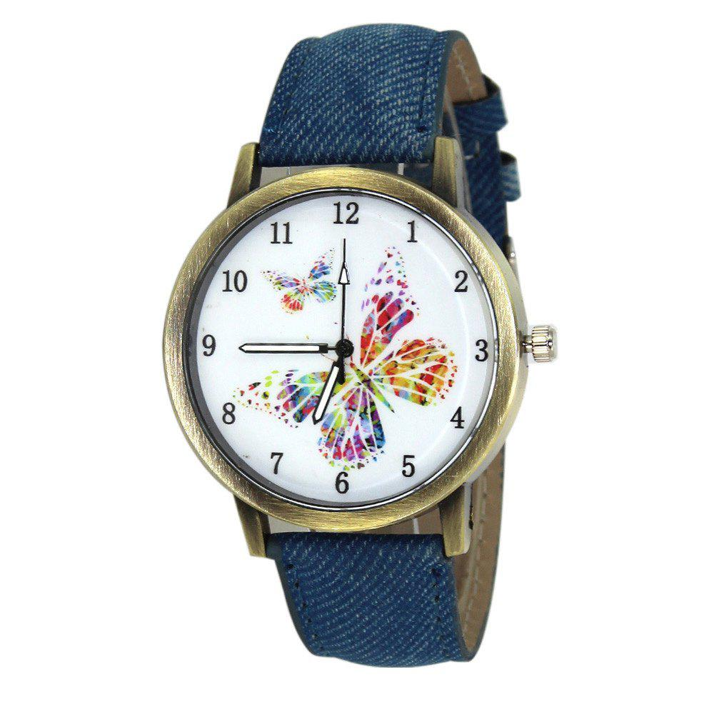 Butterfly Face Faux Leather Watch - BLUE