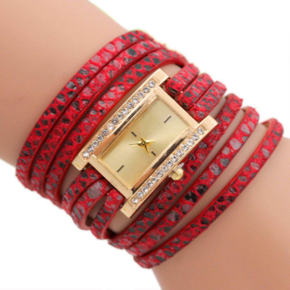 Faux Leather Wrap Braclet Rectangle Watch - RED