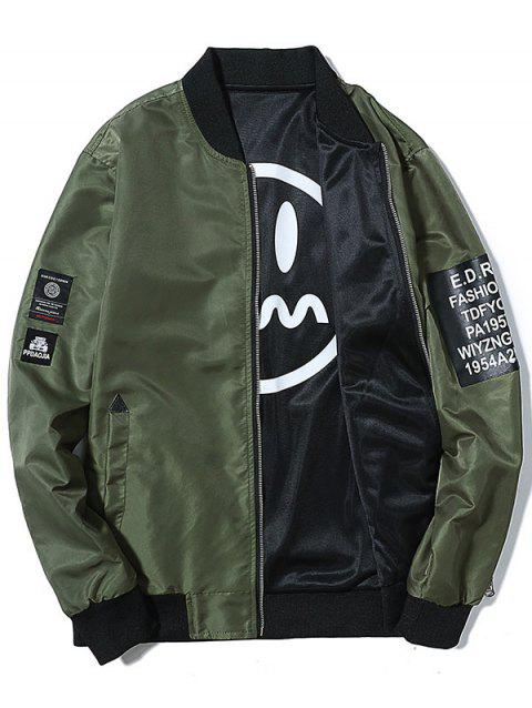 Zip Up Printed Convertible Wear Bomber Jacket - ARMY GREEN L