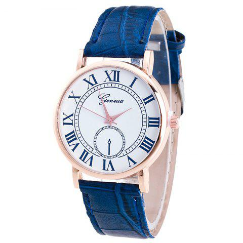 Roman Numerals Faux Leather Analog Watch - BLUE