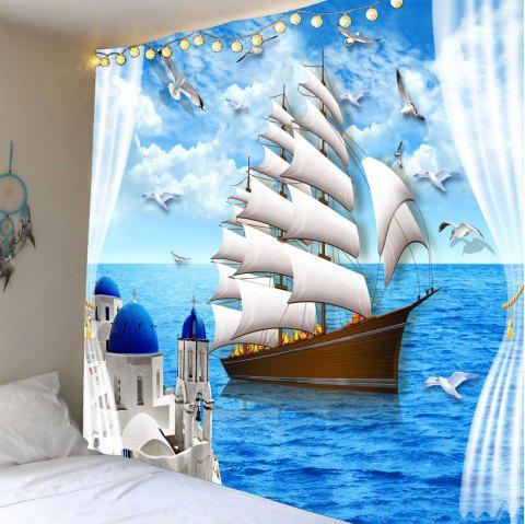 Sailing Boat Seascape Waterproof Wall Tapestry - LIGHT BLUE W59 INCH * L51 INCH