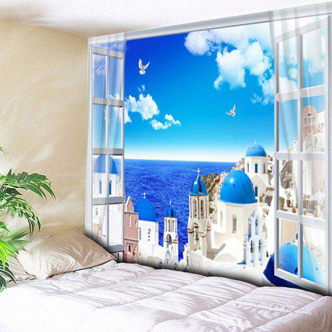 Seaside Castle Printed Wall Hanging Tapestry - SKY BLUE W79 INCH * L59 INCH