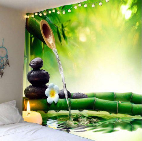 Bamboo Water Stone Print Waterproof Wall Tapestry - GREEN W79 INCH * L59 INCH