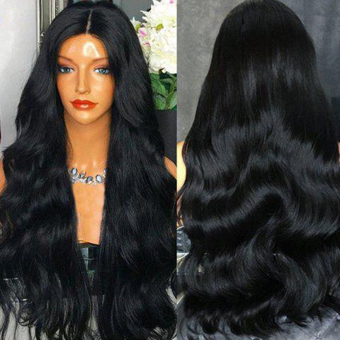 Ultra Long Middle Part Thick Wavy Synthetic Wig - BLACK