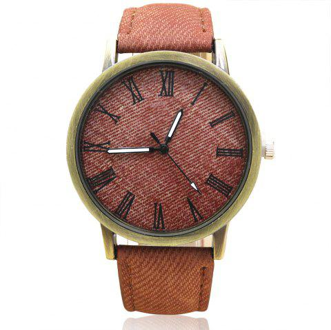 Roman Numeral Faux Leather Strap Analog Watch - BROWN