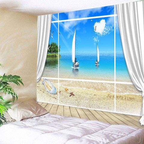 Window Beach Boat Print Tapestry Wall Hanging Art - BLUE W59 INCH * L51 INCH