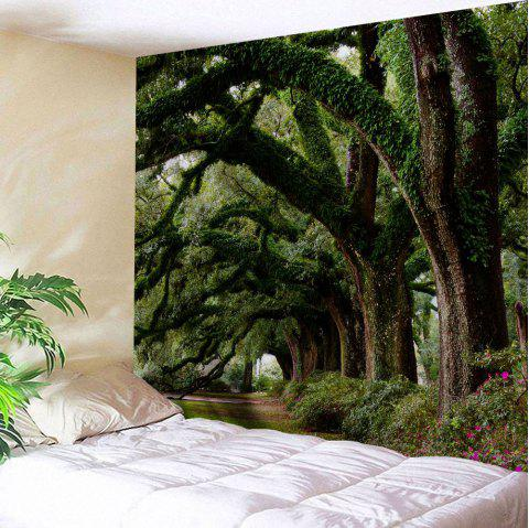 Wall Hanging Art Trees Avenue Print Tapestry - GREEN W51 INCH * L59 INCH