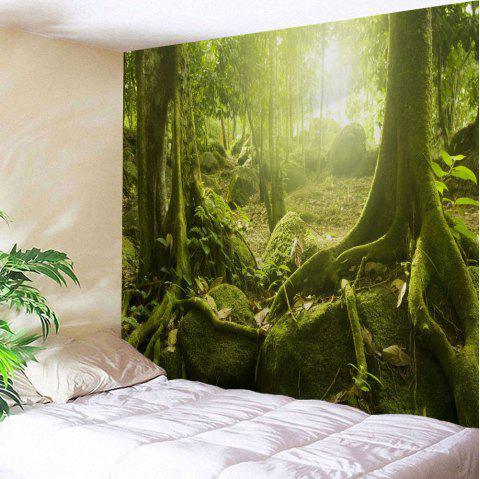 Sunlight Forest Polyester Throw Wall Art Tapestry - YELLOW GREEN W51 INCH * L59 INCH