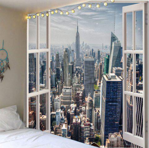 Faux Window Building Printed Waterproof Wall Tapestry - GRAY W59 INCH * L59 INCH
