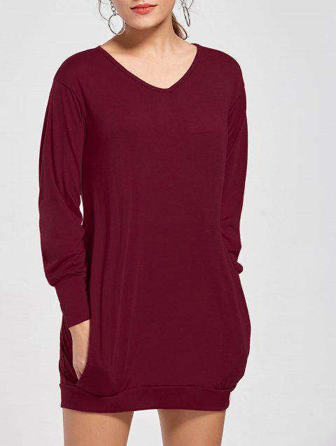 Stylish Plunging Neck Long Sleeve Pocket Design Solid Color Women's Dress - WINE RED S
