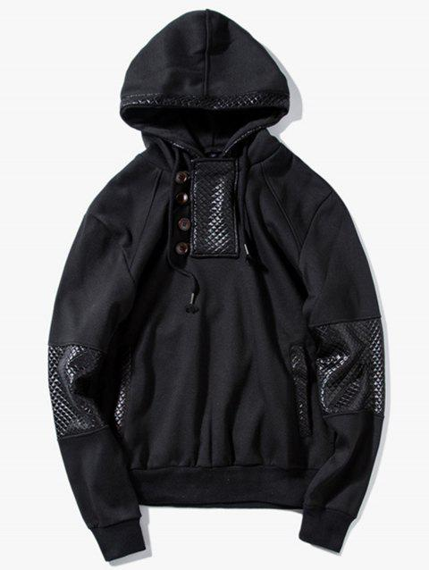 Button Faux Leather Trim Pullover Hoodie - BLACK XL