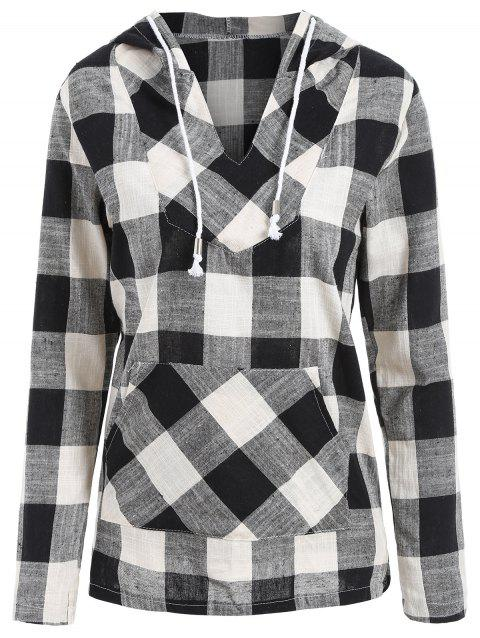 Drawstring Kangaroo Pocket Plaid Pullover Hoodie - WHITE/BLACK S