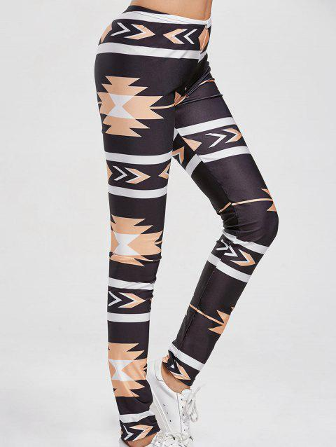 Slimming Patterned Leggings - BLACK M
