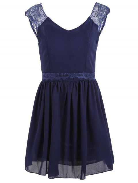 Backless Chiffon A Line Mini Dress - PURPLISH BLUE S