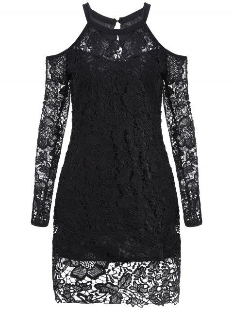 Long Sleeve Cold Shoulder Lace Bodycon Dress - BLACK S
