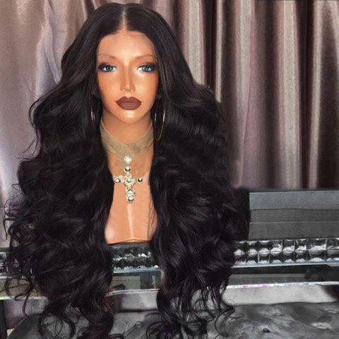 Middle Part Fluffy Loose Wave Long Synthetic Wig - BLACK
