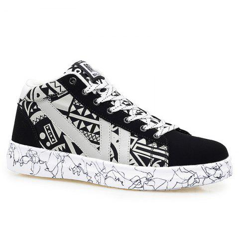 Tie Up Geometric Pattern Casual Shoes - BLACK WHITE 42