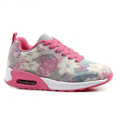 Coussin d'air Floral Print Athletic Shoes - Rouge et Blanc 38