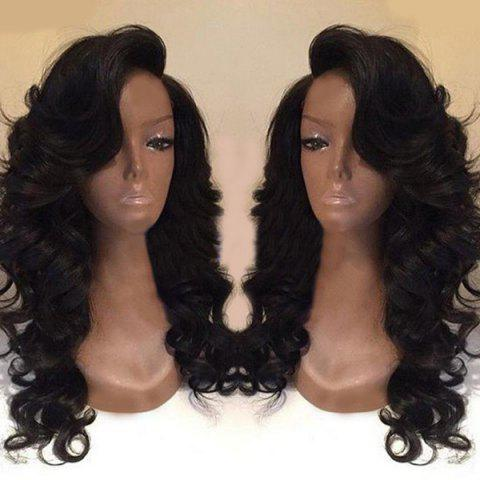 Deep Side Part Body Wave Long Synthetic Wig - BLACK