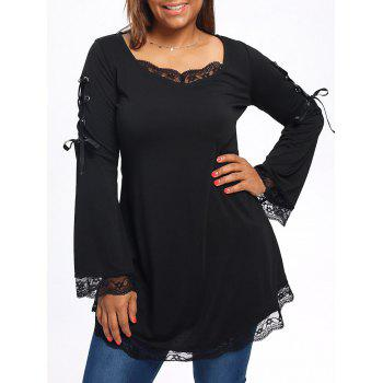 Plus Size Long Sleeve Lace Trim Tunic T-shirt
