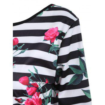 Floral Striped Fitted Backless Dress - WHITE/BLACK XL