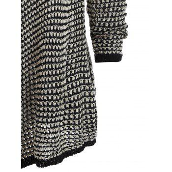 Casual Collarless Knitted Long Sleeve Cardigan For Women - BLACK M