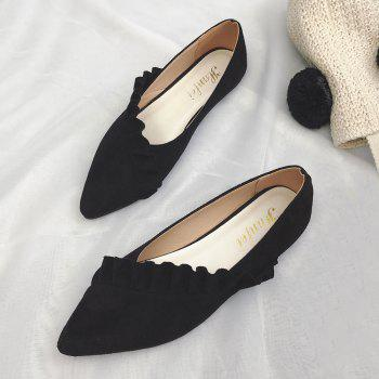 Ruffles Point Toe Faux Suede Flats - BLACK 37