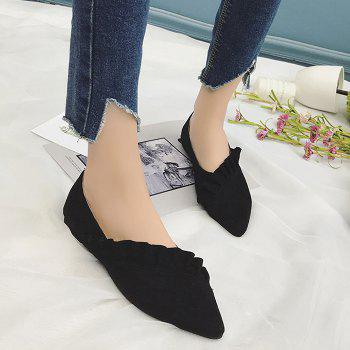 Ruffles Point Toe Faux Suede Flats - BLACK 38
