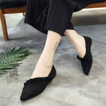 Ruffles Point Toe Faux Suede Flats - 39 39
