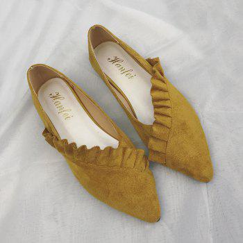 Ruffles Point Toe Faux Suede Flats - Jaune 37