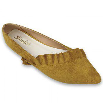 Ruffles Point Toe Faux Suede Flats - YELLOW 37