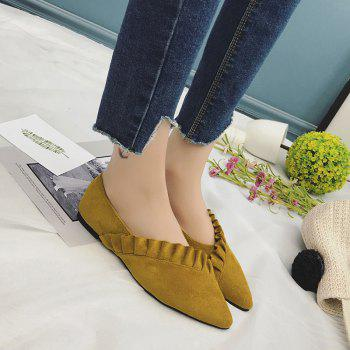 Ruffles Point Toe Faux Suede Flats - YELLOW 38