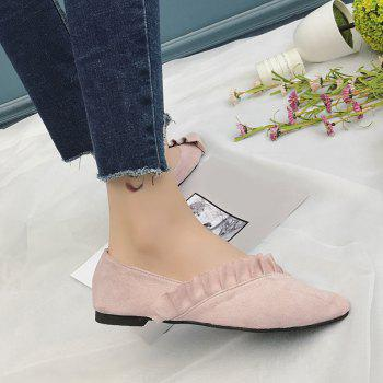 Ruffles Point Toe Faux Suede Flats - ROSE PÂLE 37