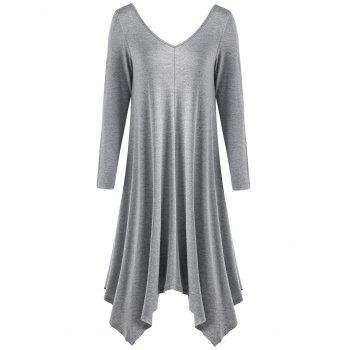 Long Sleeve Asymmetrical Midi T-shirt Dress
